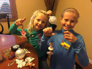 Kelly Braun's girls with ornament