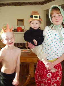 Lisa Davidson's kids in a Thanksgiving Play