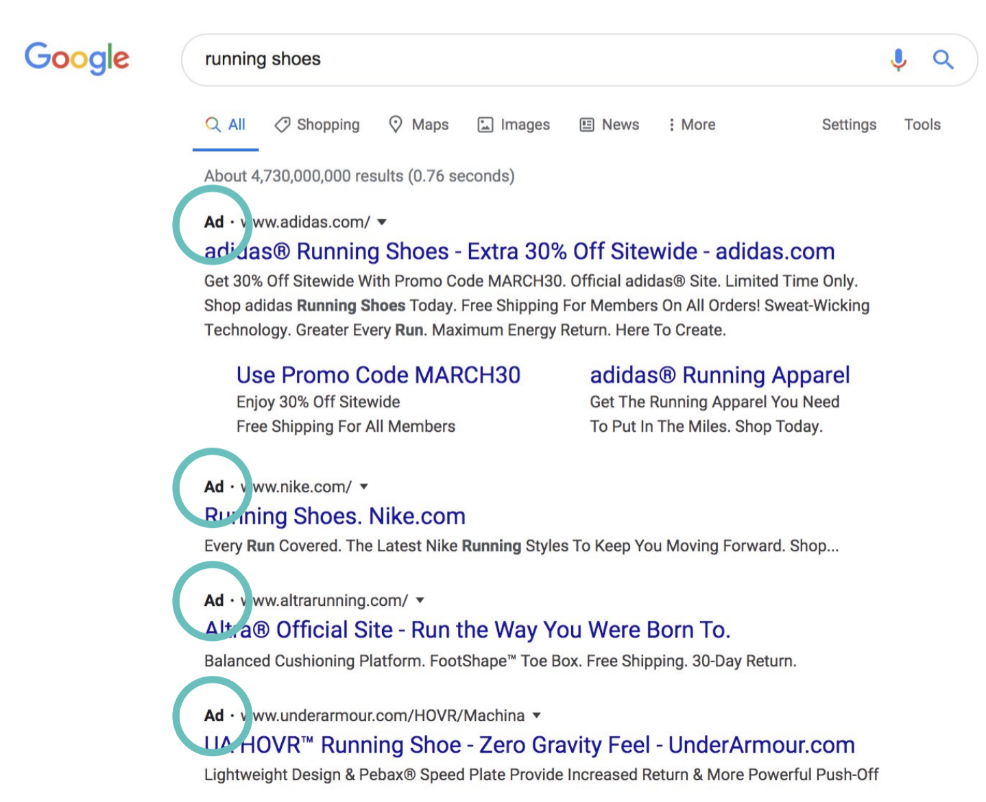 Paid search ad in google