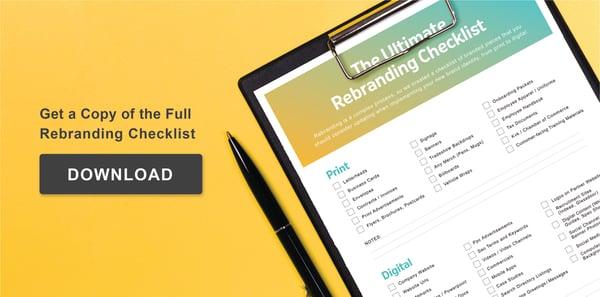 Full rebranding checklist with pen