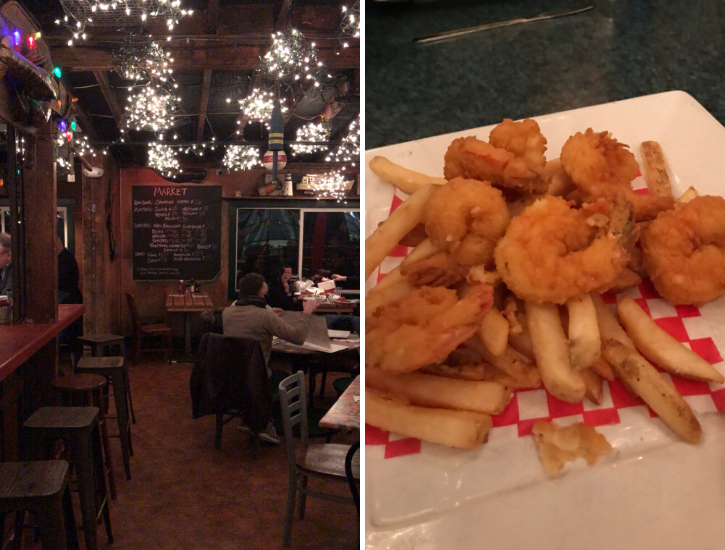 Untitled design (28)Fried shrimp and fries at Barking Crab Boston Interior with woodstove at Barking Crab