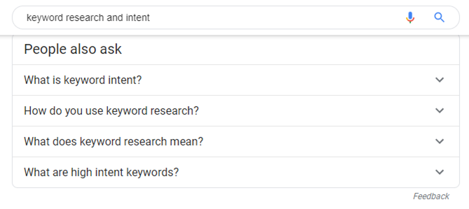 Keyword search intent examples from Google.