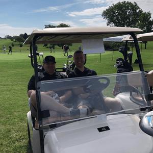 Kurt and Grant in Golf Cart