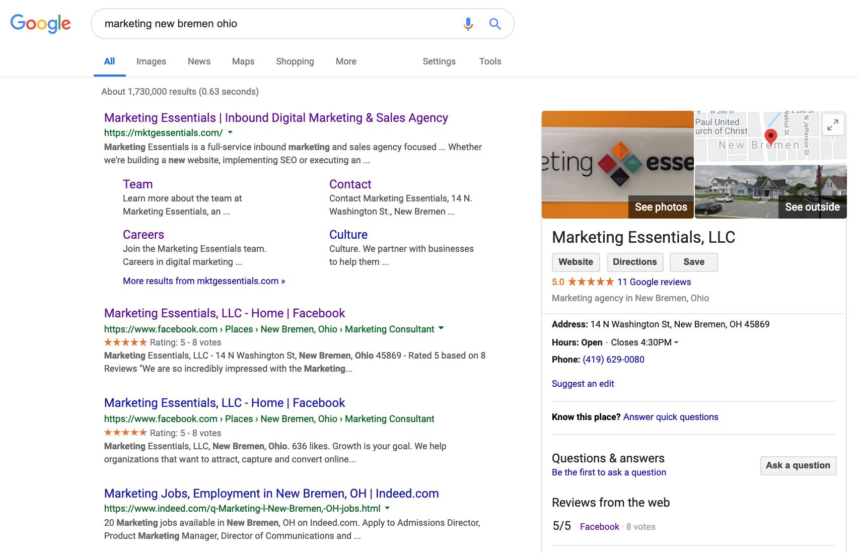 google search for marketing essentials