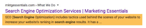 Example if what meta description shows when search for Marketing Essentials.