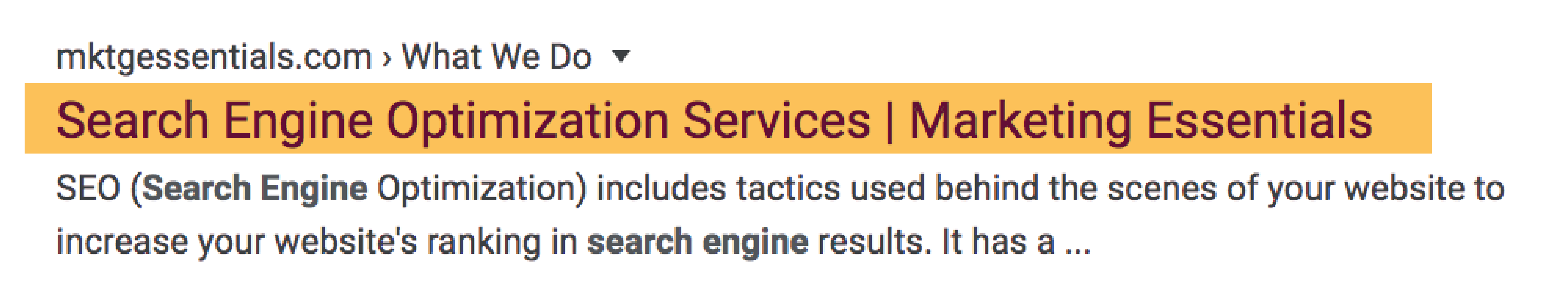 Example of what a Title Tag looks like in a search engine.